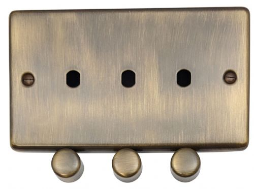G&H CAB13-PK Standard Plate Antique Bronze 3 Gang Dimmer Plate Only inc Dimmer Knobs